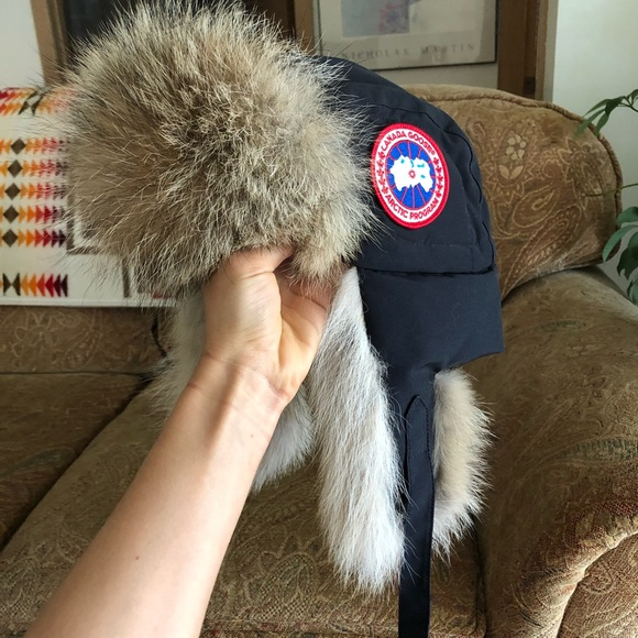 083a92bdf0913b Canada Goose Accessories - Canada Goose Down Fur Aviator Hat Navy L XL